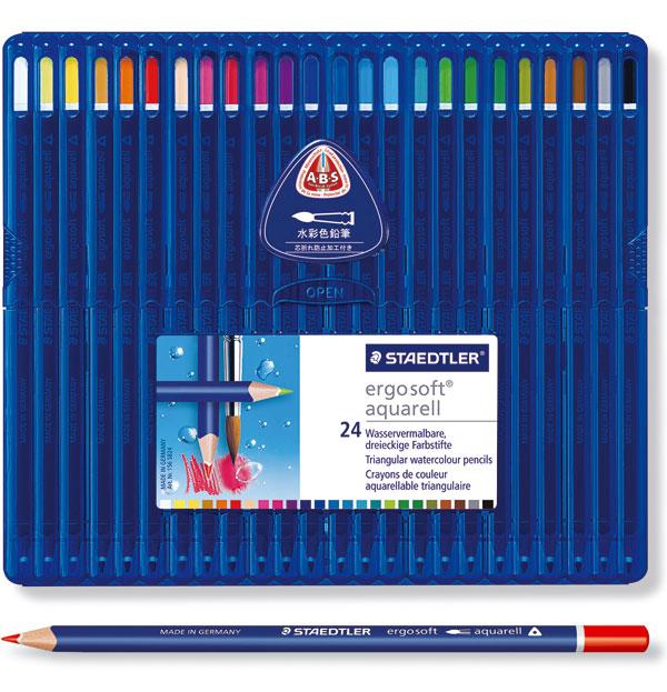 ステッドラー エルゴソフト アクェレル 水彩色鉛筆 24色セット