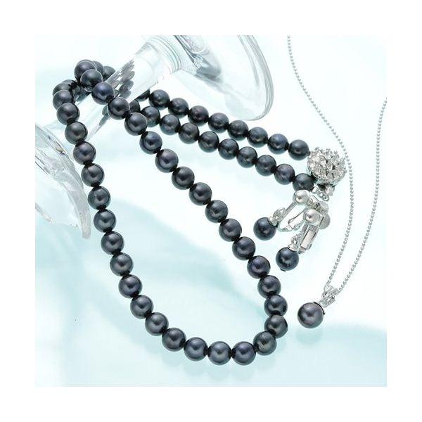 あこや黒染め3Pネックレスセット(鑑別つき) ファッション ネックレス・ペンダント 天然石 真珠 レビュー投稿で次回使える2000円クーポン全員にプレゼント