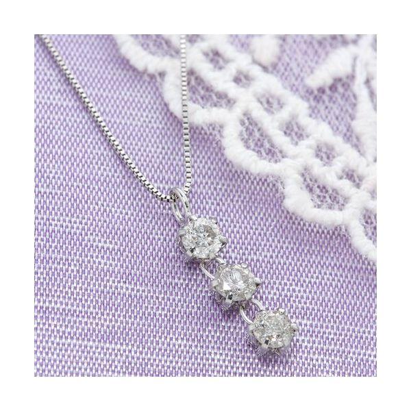 10000円以上送料無料 ホワイトゴールド 0.3ctダイヤ3ストーンペンダント/ネックレス ファッション ネックレス・ペンダント 天然石 ダイヤモンド レビュー投稿で次回使える2000円クーポン全員にプレゼント