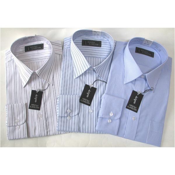 【送料無料】メンズビジネスストライプ ワイシャツ 長袖 Mサイズ 【 3点お得セット 】 ファッション トップス シャツ メンズシャツ レビュー投稿で次回使える2000円クーポン全員にプレゼント