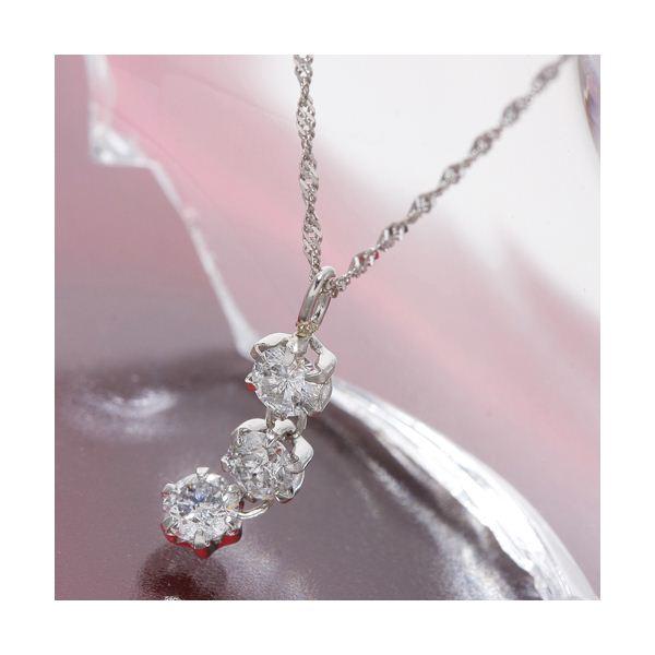 オールプラチナスリーストーンダイヤモンドペンダント/ネックレス ファッション ネックレス・ペンダント 天然石 ダイヤモンド レビュー投稿で次回使える2000円クーポン全員にプレゼント