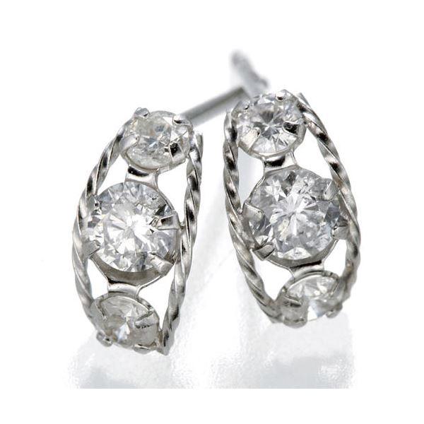 【送料無料】K18ローブダイヤモンドピアス K18WG ファッション ピアス・イヤリング 天然石 ダイヤモンド レビュー投稿で次回使える2000円クーポン全員にプレゼント