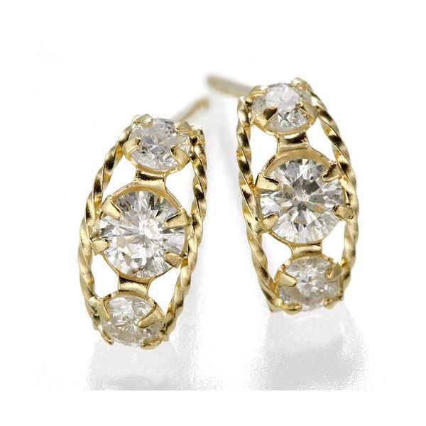 10000円以上送料無料 K18ローブダイヤモンドピアス K18YG ファッション ピアス・イヤリング 天然石 ダイヤモンド レビュー投稿で次回使える2000円クーポン全員にプレゼント