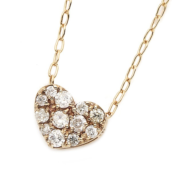 【送料無料】ダイヤモンド ネックレス K18 ピンクゴールド 0.15ct ハート ダイヤパヴェネックレス ペンダント ファッション ネックレス・ペンダント 天然石 ダイヤモンド レビュー投稿で次回使える2000円クーポン全員にプレゼント