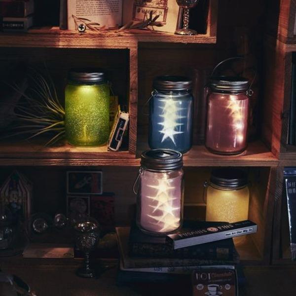 10000円以上送料無料 充電式ソーラーライト/ガラスジャー型照明 【スター/ピンク】 照度センサー内蔵 防雨仕様 『Glass Jar -star-』 生活用品・インテリア・雑貨 その他の生活雑貨 レビュー投稿で次回使える2000円クーポン全員にプレゼント