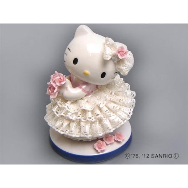 HeLLo Kitty ハローキティ レースドール/陶製人形 【ホワイト】 磁器 高さ14×ベース径11cm 日本製【代引不可】 ホビー・エトセトラ おもちゃ ぬいぐるみ・人形 レビュー投稿で次回使える2000円クーポン全員にプレゼント