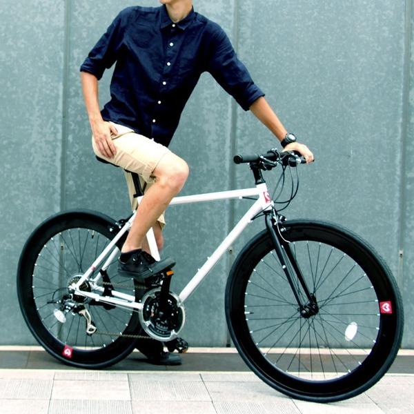 【送料無料】クロスバイク 700c(約28インチ)/ホワイト(白) シマノ21段変速 軽量 重さ11.2kg 【HEBE】 ヘーべー CAC-024【代引不可】 生活用品・インテリア・雑貨 自転車(シティーサイクル) クロスバイク レビュー投稿で次回使える2000円クーポン全員にプレゼント