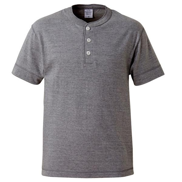アウトフィットに最適ヘビーウェイト5.6オンスセミコーマヘンリーネック Tシャツ2枚セット ブラック+ミックスグレー S ファッション トップス Tシャツ 半袖Tシャツ レビュー投稿で次回使える2000円クーポン全員にプレゼント