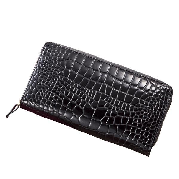 10000円以上送料無料 牛革クロコ型押しコ インスルー財布(ブラック) ファッション 財布・キーケース・カードケース 財布 その他の財布 レビュー投稿で次回使える2000円クーポン全員にプレゼント