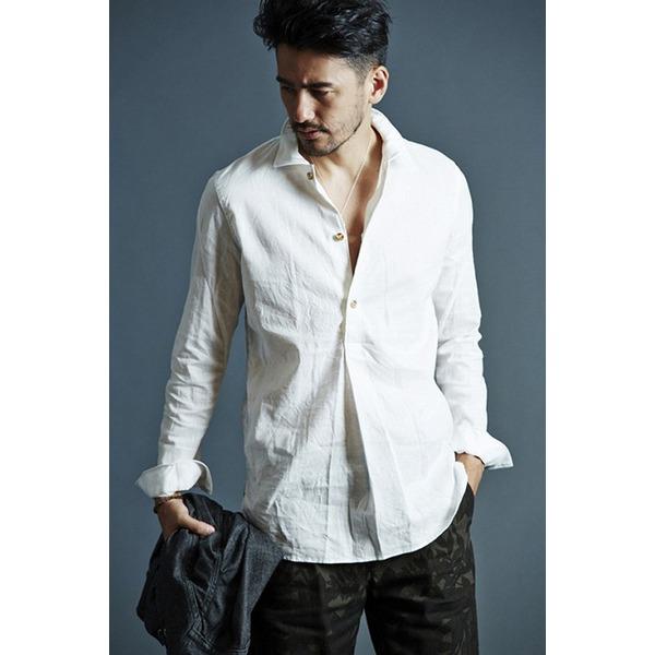 5000円以上送料無料 VADEL swedish pull-over shirts WHITE サイズ44【代引不可】 ファッション トップス シャツ メンズシャツ レビュー投稿で次回使える2000円クーポン全員にプレゼント
