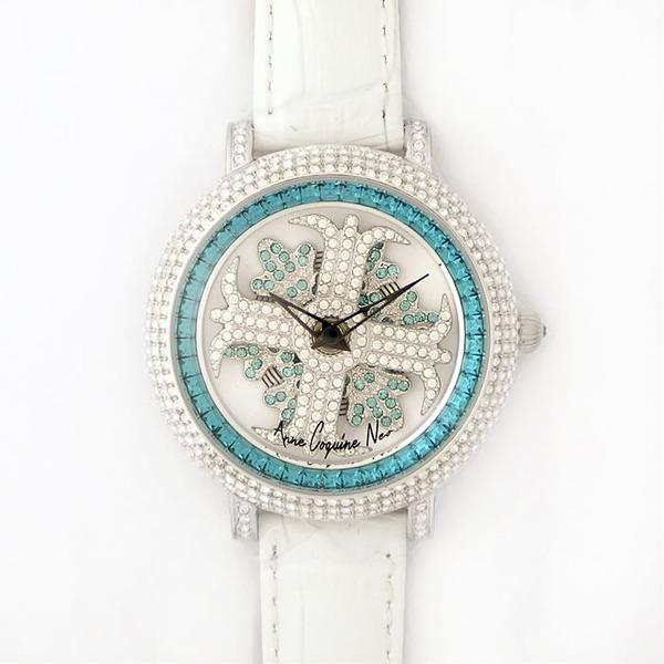 10000円以上送料無料 アンコキーヌ ネオ 40mm バイカラー ミニクロス シルバーベゼル インナーベゼルブルー ホワイトベルト イール 正規品(腕時計・グルグル時計) ファッション 腕時計 レディース(女性) レビュー投稿で次回使える2000円クーポン全員にプレゼント