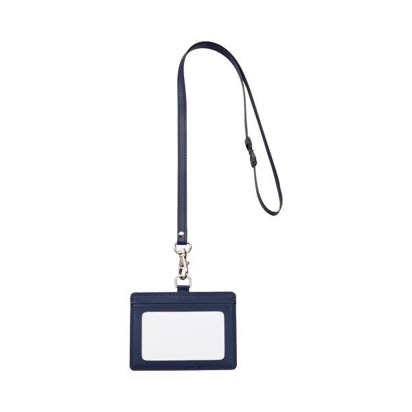 (まとめ) TANOSEE 合皮製ネームカードホルダー ヨコ型 ストラップ付 ブルー 1個 【×10セット】 ファッション 財布・キーケース・カードケース カードケース・名刺入れ その他のカードケース レビュー投稿で次回使える2000円クーポン全員にプレゼント