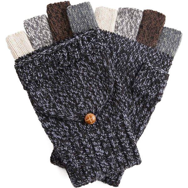 【送料無料】指切りニット手袋 メンズ グレー ファッション 手袋 レビュー投稿で次回使える2000円クーポン全員にプレゼント