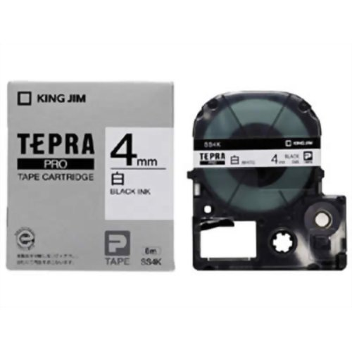 家電 パソコン周辺機器 ラベルプリンター キングジム テプラPROテープ SS4K(白/黒文字 4mm幅)
