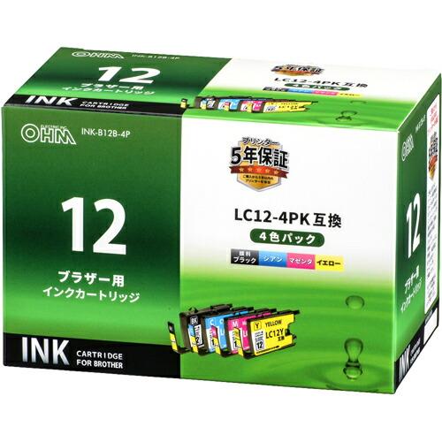 家電 別売部品 プリンタ用インク ブラザー用インクカートリッジ LC12-4PK互換 顔料ブラック+染料3色パック INK-B12B-4P