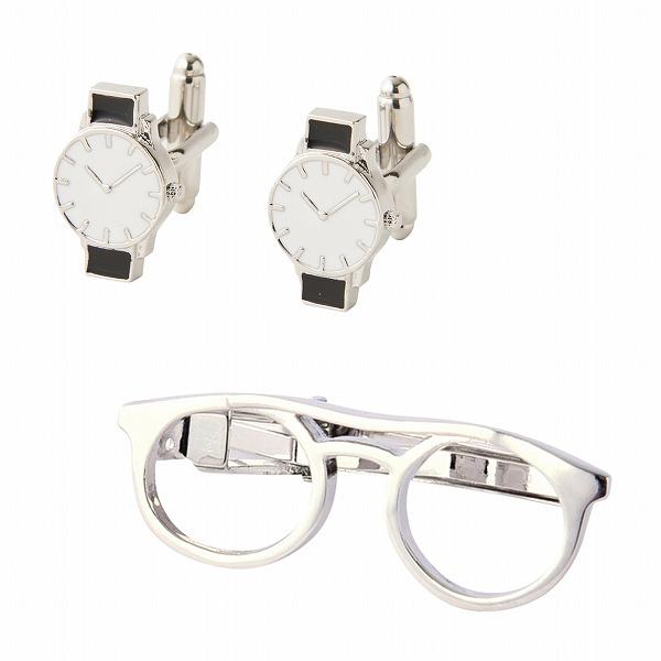 ファッションアクセサリーコレクション Fashion Accessory Cllection タイピンカフスセット(メガネ&腕時計) 700-600 【ファッション小物 タイピン】