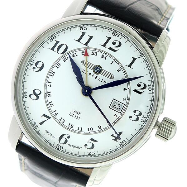 ツェッペリン ZEPPELIN LZ127 GMT クオーツ メンズ 腕時計 7642-1 ホワイト/ブラック 【腕時計 海外インポート品】返品可 レビュー投稿で次回使える2000円クーポン全員にプレゼント