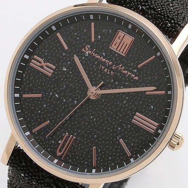 サルバトーレマーラ SALVATORE MARRA 替えベルト付き クオーツ レディース 腕時計 SM18115-PGBK ブラック/ブラック 【腕時計 低価格帯ウォッチ】返品可 レビュー投稿で次回使える2000円クーポン全員にプレゼント