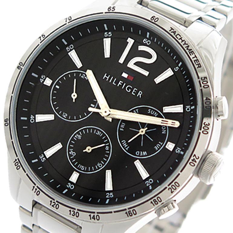 トミーヒルフィガー TOMMY HILFIGER 腕時計 メンズ 1791469 クォーツ ブラック シルバー 【腕時計 海外インポート品】返品可 レビュー投稿で次回使える2000円クーポン全員にプレゼント