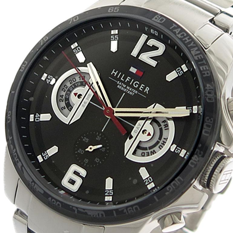 トミーヒルフィガー TOMMY HILFIGER 腕時計 メンズ 1791472 クォーツ ブラック シルバー 【腕時計 海外インポート品】返品可 レビュー投稿で次回使える2000円クーポン全員にプレゼント