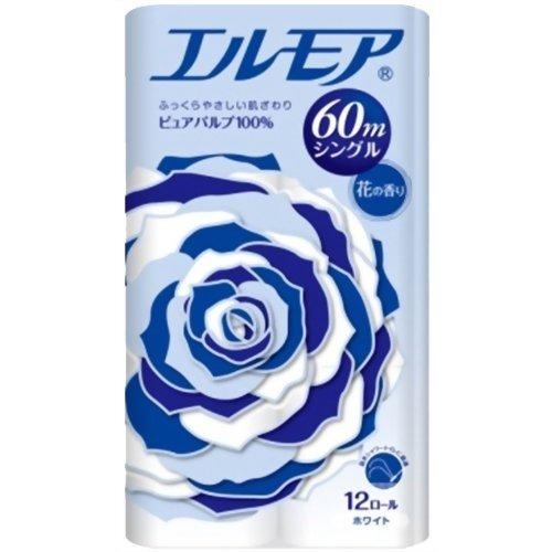10000円以上送料無料 エルモア トイレットロール 花の香り ホワイトシングル 60m(12ロール) 日用品 ペーパー類(紙用品) トイレットペーパー レビュー投稿で次回使える2000円クーポン全員にプレゼント