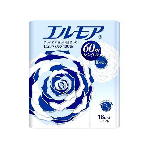 10000円以上送料無料 エルモア トイレットロール 花の香り ホワイトシングル 60m(18ロール) 日用品 ペーパー類(紙用品) トイレットペーパー レビュー投稿で次回使える2000円クーポン全員にプレゼント