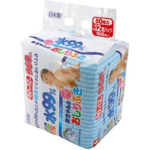 10000円以上送料無料 水99% 赤ちゃんのおしりふき(80枚入*12コパック) ベビー&キッズ おむつ おしりふき・おむつ用品 レビュー投稿で次回使える2000円クーポン全員にプレゼント