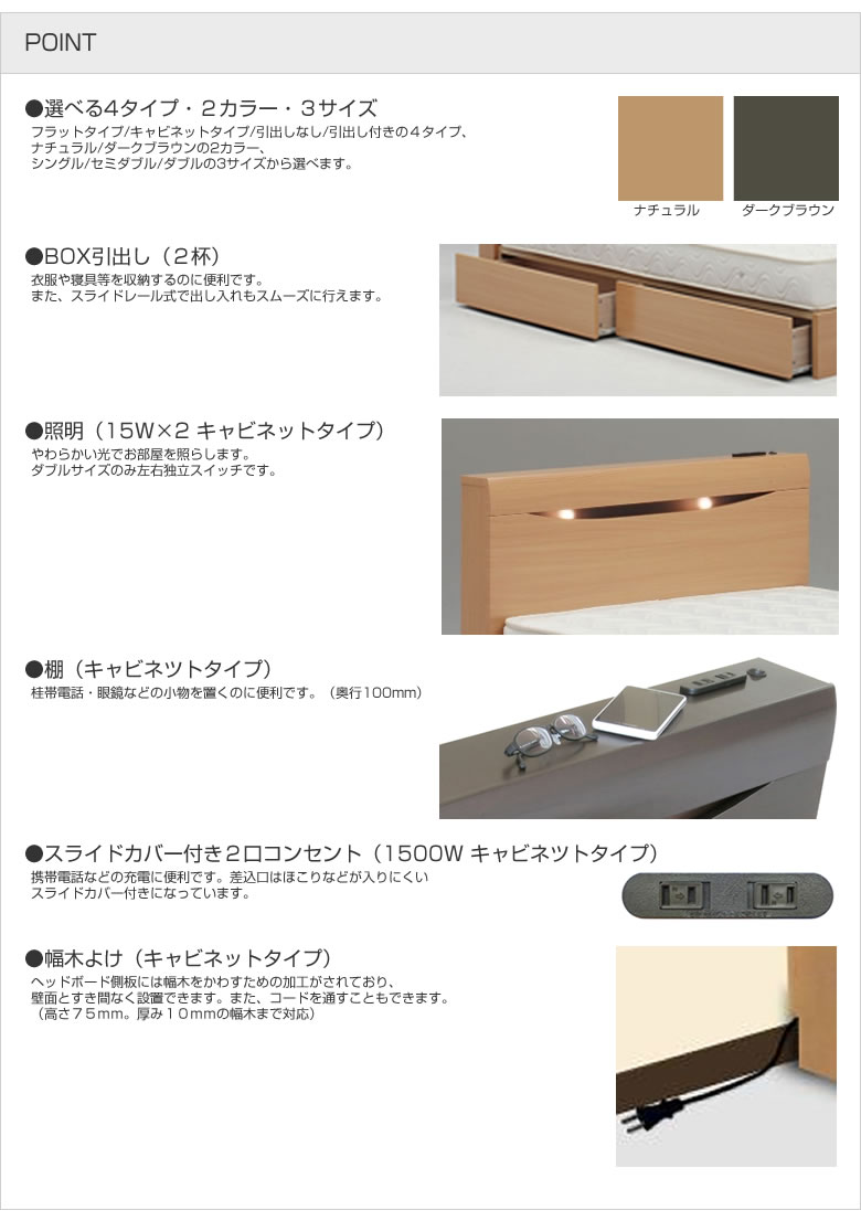 シンプル BOX引出し 照明 棚 ライドカバー付き2口コンセント 幅木よけ