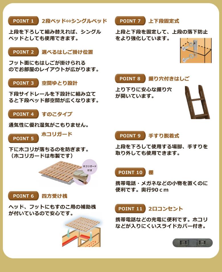 2段ベッド 二段ベッド シングルベッド 上下段分離 棚付き シンプル すのこ