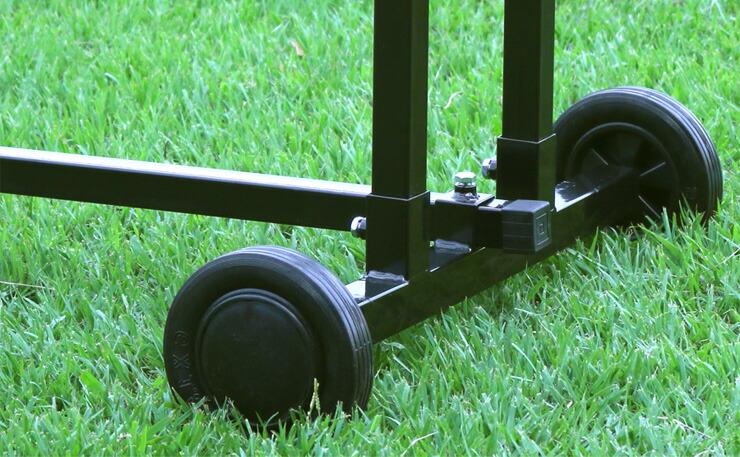 薪割り機接続状態でも車輪がついてラクラク移動