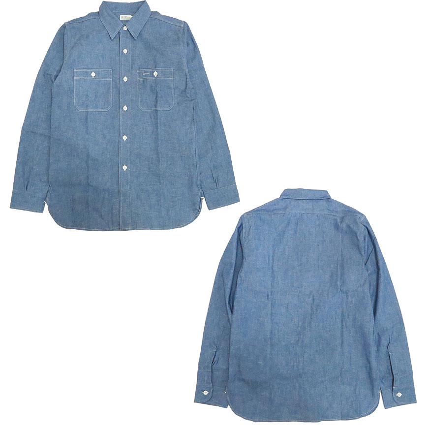 ウェアハウス WAREHOUSE 3本針縫い 長袖 シャンブレーワークシャツ 3076