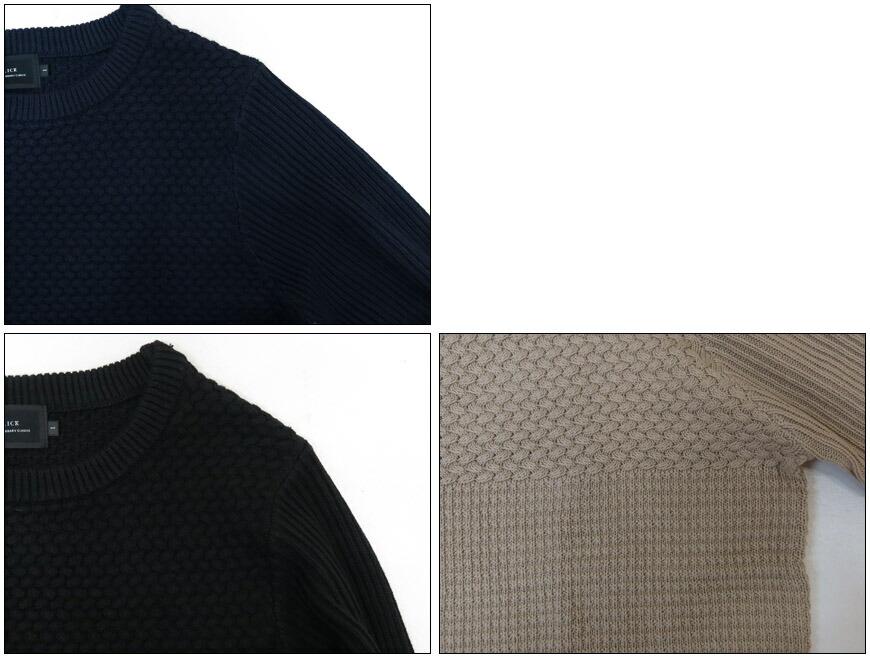 SLICK ブロックパターンコットンニットクルーネックセーター 5156107