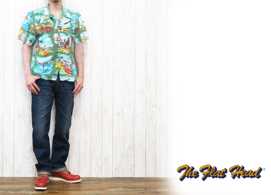 【THE FLAT HEAD】 THCシリーズ 半袖プリントTシャツ 「RESPECT NATURE」 THC-158W