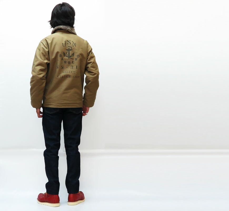 Buzz Rickson's デッキジャケット N-1 NAVY Khaki USS BARBER 0 SS-317 NAVY DEPARTMENT BR14549