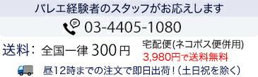 バレエ経験者のスタッフがお応えします。0120-398-083(携帯からは:03-6675-9120)●メール便:全国一律300円(6,500円以上で送料無料)●宅配便:全国一律600円(6,500円以上で送料無料)沖縄離島1040円