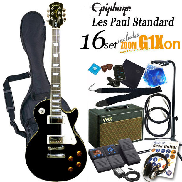 16 points of エピフォンレスポールスタンダードエボニー (black) electric guitar beginner guide  set Epiphone Les Paul Standard EB