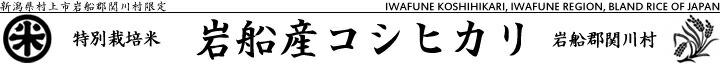 関川村特別栽培米 岩船産コシヒカ リ