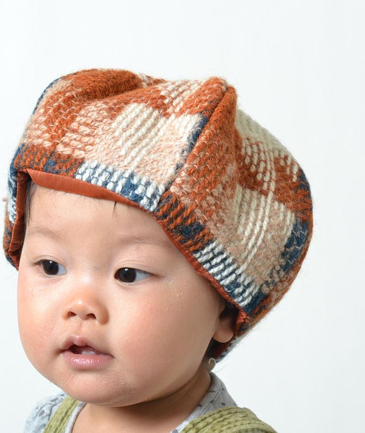 8ac30bc5b191f ベビー キッズ 子供 帽子 どんぐりニット帽 6パネル ベレー帽 Baby kids