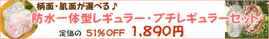 お得2枚セット51%OFF【和っ布る布ナプキン】防水一体型レギュラー・プチレギュラー2枚セット