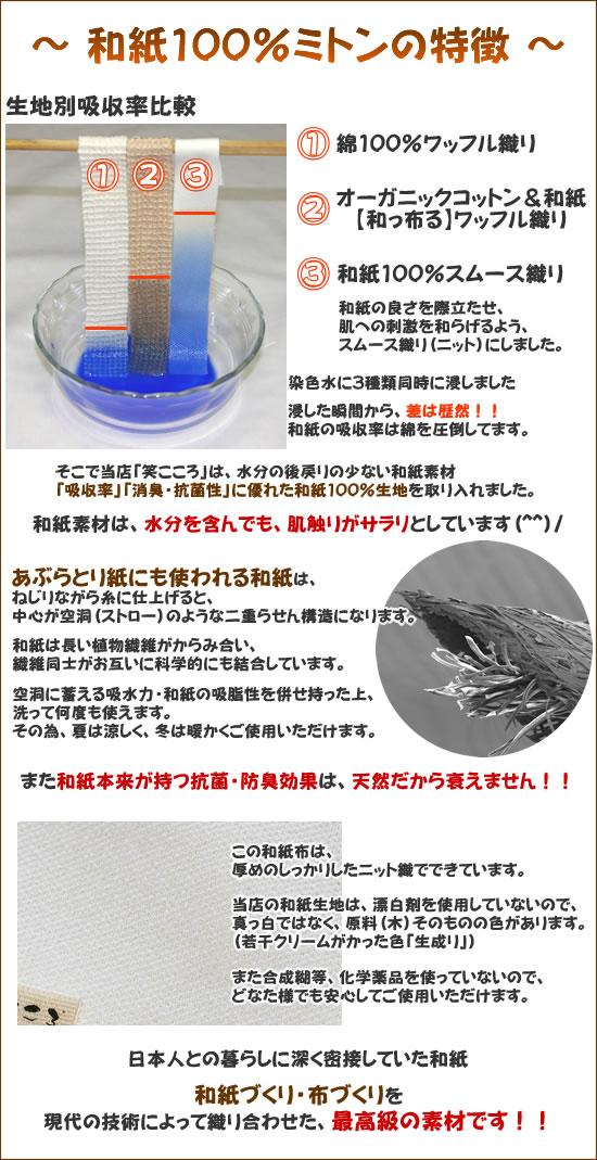 【和っ布る(和紙100%)】生地特徴