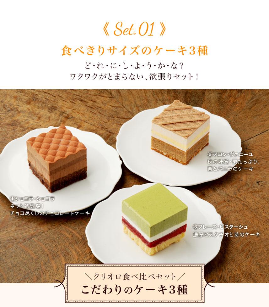 食べきりサイズのケーキ3種