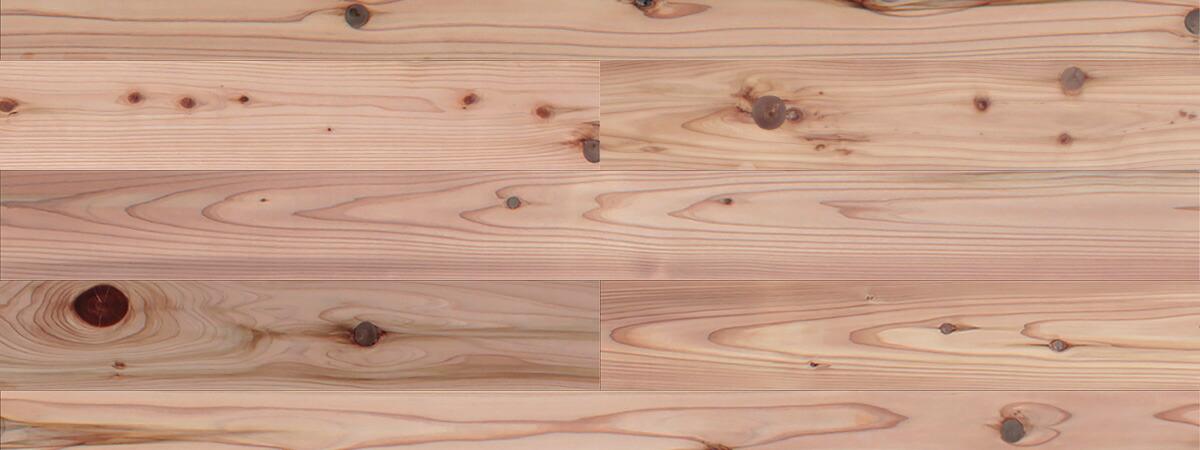 スギ / 杉(奈良県吉野杉) 一枚もの 無垢フローリング【普及品(赤)】無塗装 15×110×1820mm