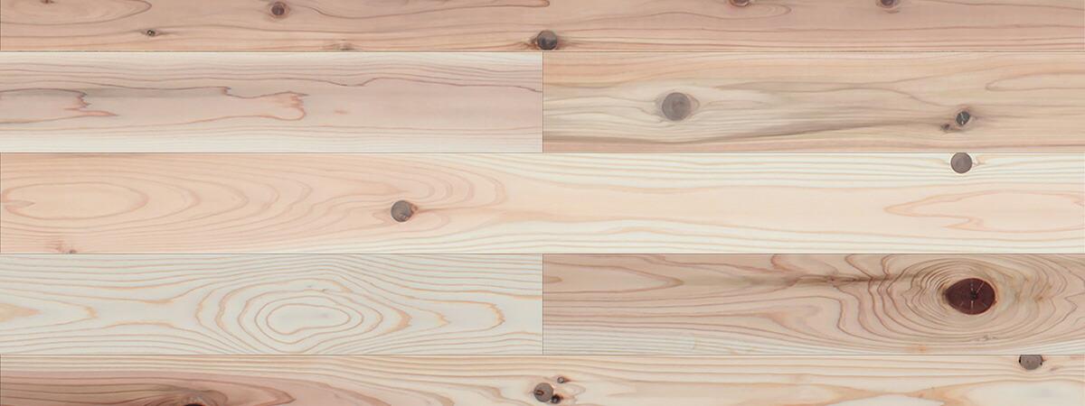 スギ / 杉(奈良県吉野杉) 一枚もの 無垢フローリング【普及品(紅白)】無塗装 15×112×2000mm
