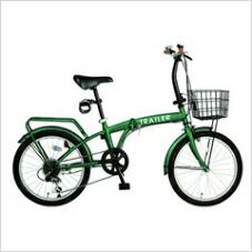 HANWA(阪和) 20インチ カラフル折りたたみ自転車 6段変速 カゴ/カギ/ライト付 TRAILER BGC-F20-GR グリーン