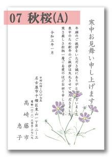 寒中はがき 「07:秋桜A」