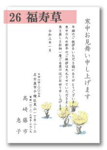 寒中はがき 「26:福寿草」