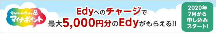 楽Edyへのチャージで最大5000円分のEdyがもらえる!