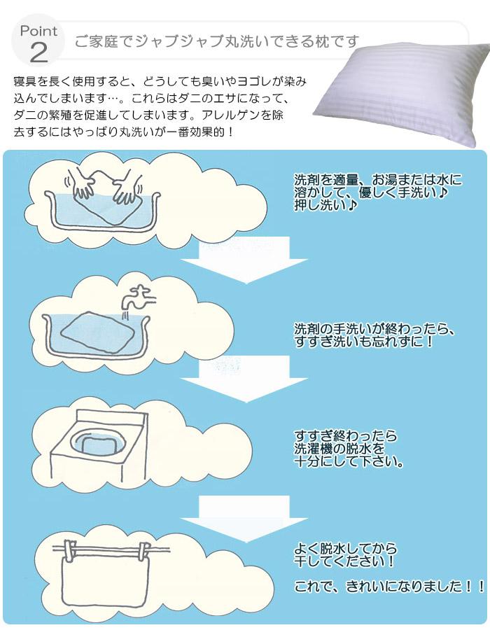 ご家庭でジャブジャブ丸洗いできる枕です