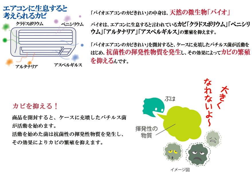 バイオエアコンのカビきれいカビ/細菌/臭い/結露/発生/抑え/きれい/空気/温度差/クリーニング/繁殖/無臭/人体にやさしい/微生物/消臭/掃除/カビ取り/防止/梅雨対策/便利グッズ