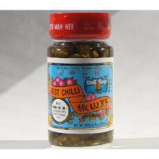 中華調味料 香港生産 冠益華記 野山椒114g ノサンショウ、激辛口野生青唐辛子漬け